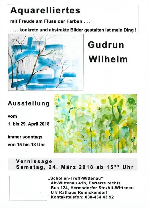 """Einzelausstellung 2018 Gudrun Wilhelm """"Aquarelliertes"""" im Schollen-Treff-Wittenau"""